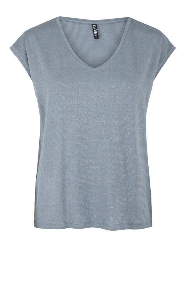 cap sleeve blue grey Tee with lurex