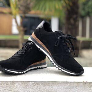 Marco Tozzi Ladies Black Sneakers with Zips